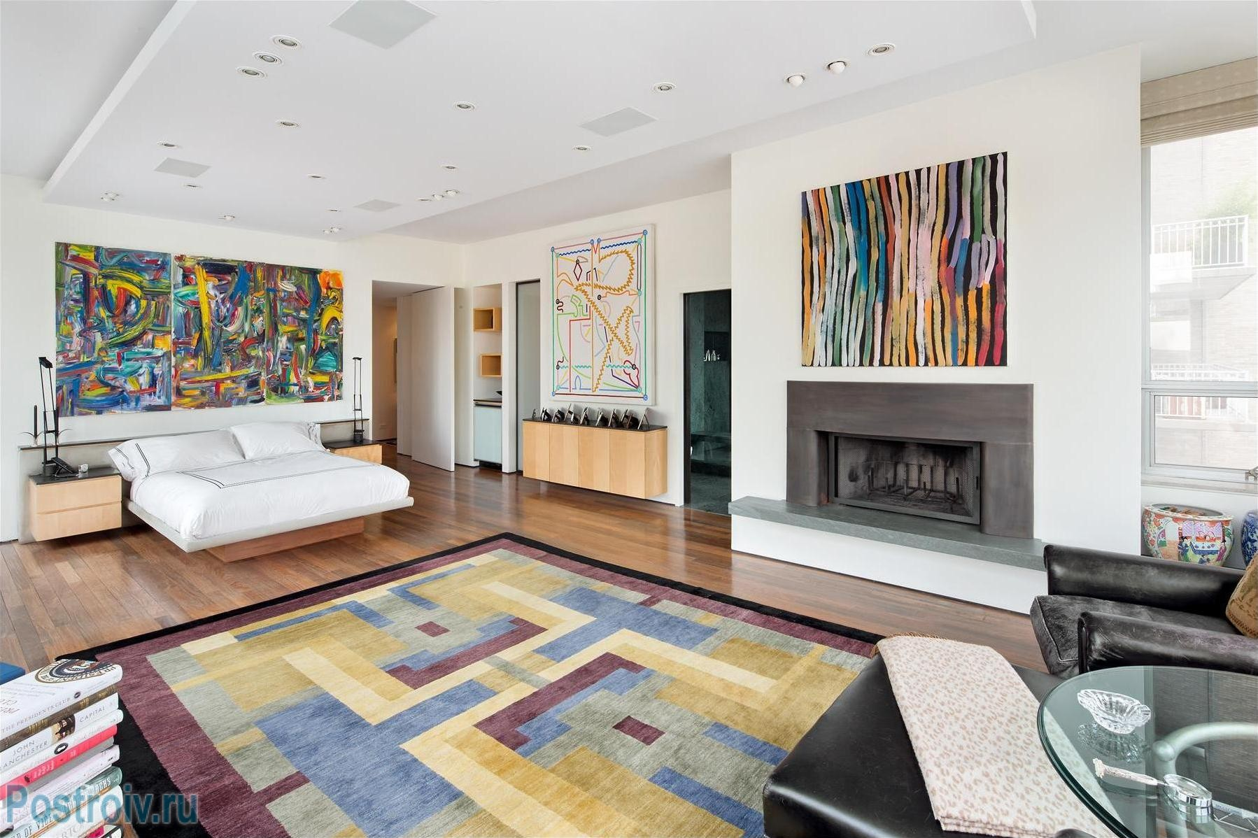bedroom-inspiration-livingroom-attractive-living-room-wall-decor-with-colorful-fur-rugs-and-white-sofas-also-fake-wooden-flooring-plus-modern-fireplace-and-beautiful-painting-at-white-walls-color-indo