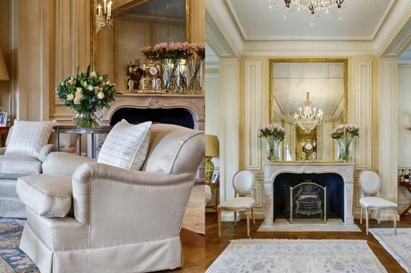 Кресло и камин в классической гостиной