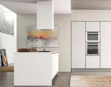 Кухня Berloni B50 Wave Rovere Mud Bianco Ice